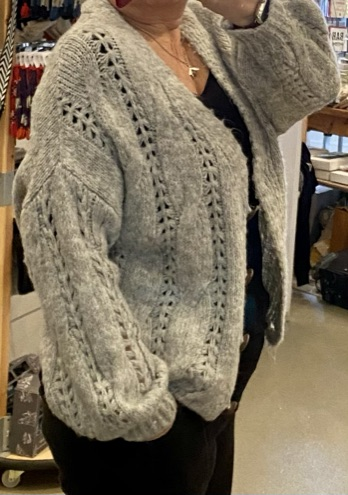 Soft cable knit slouch cardi