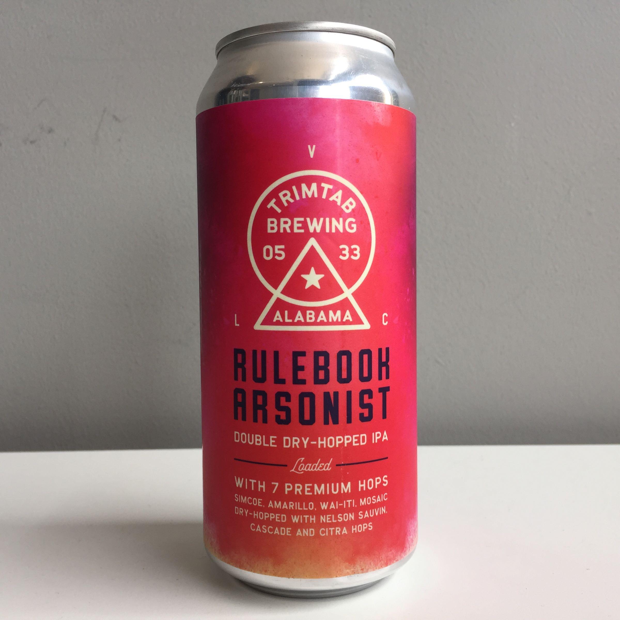 Trimtab Brewing 'Rulebook Arsonist' DDH IPA 440mm  6.8% ABV