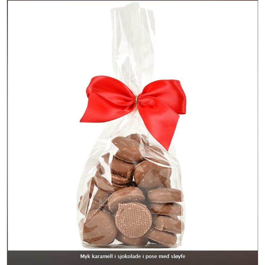 Myk karamell i sjokolade m/sløyfe