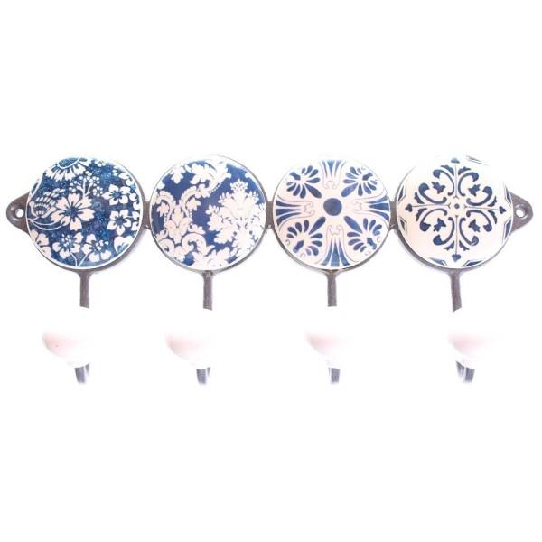 Knaggrekke, blå/hvit, 4 knagger