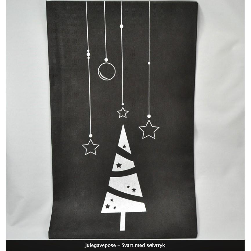 Julegavepose Svart med sølvtrykk
