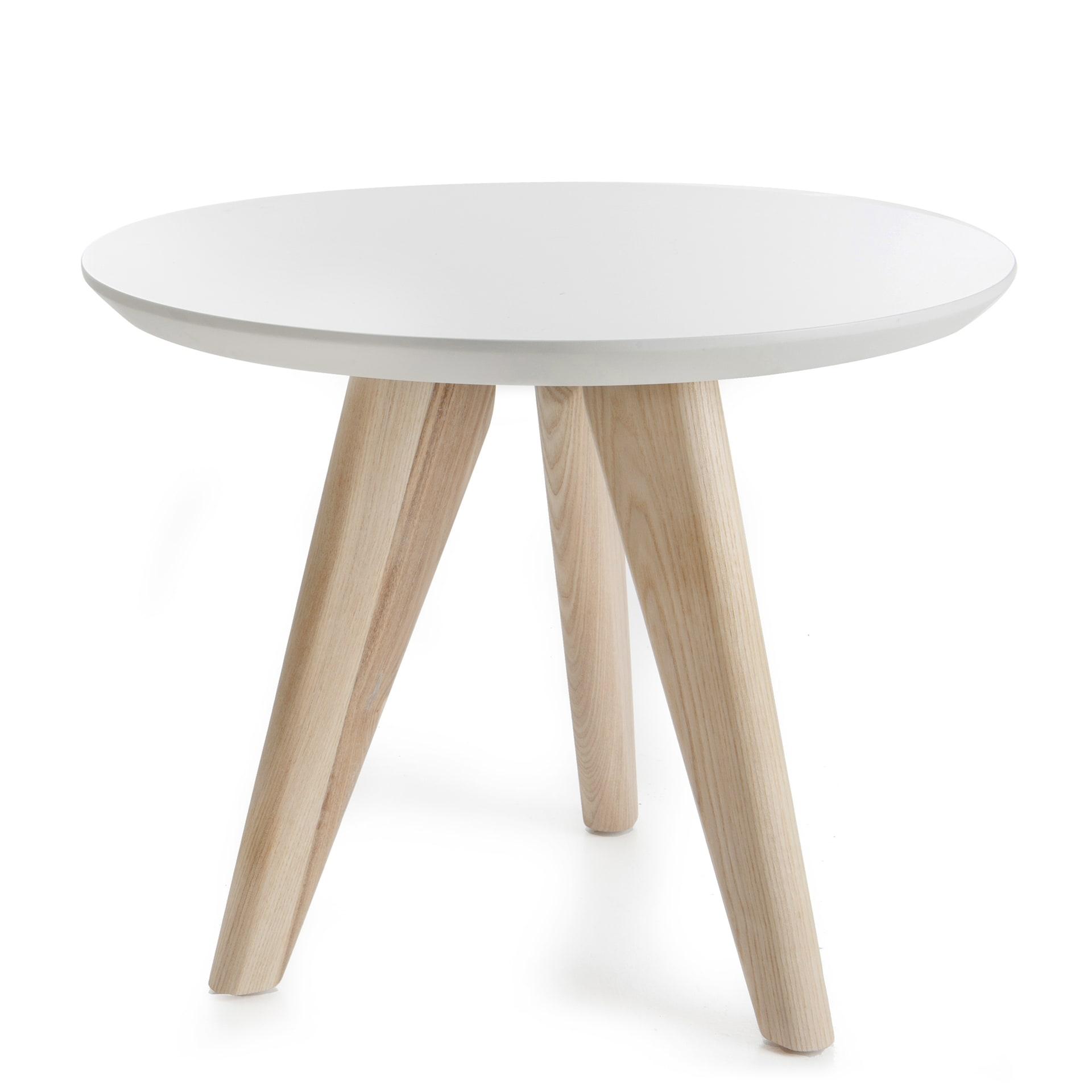 Hvitt bord med ben i ask