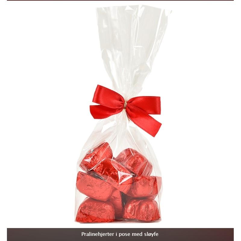Sjokoladehjerter i pose med sløyfe