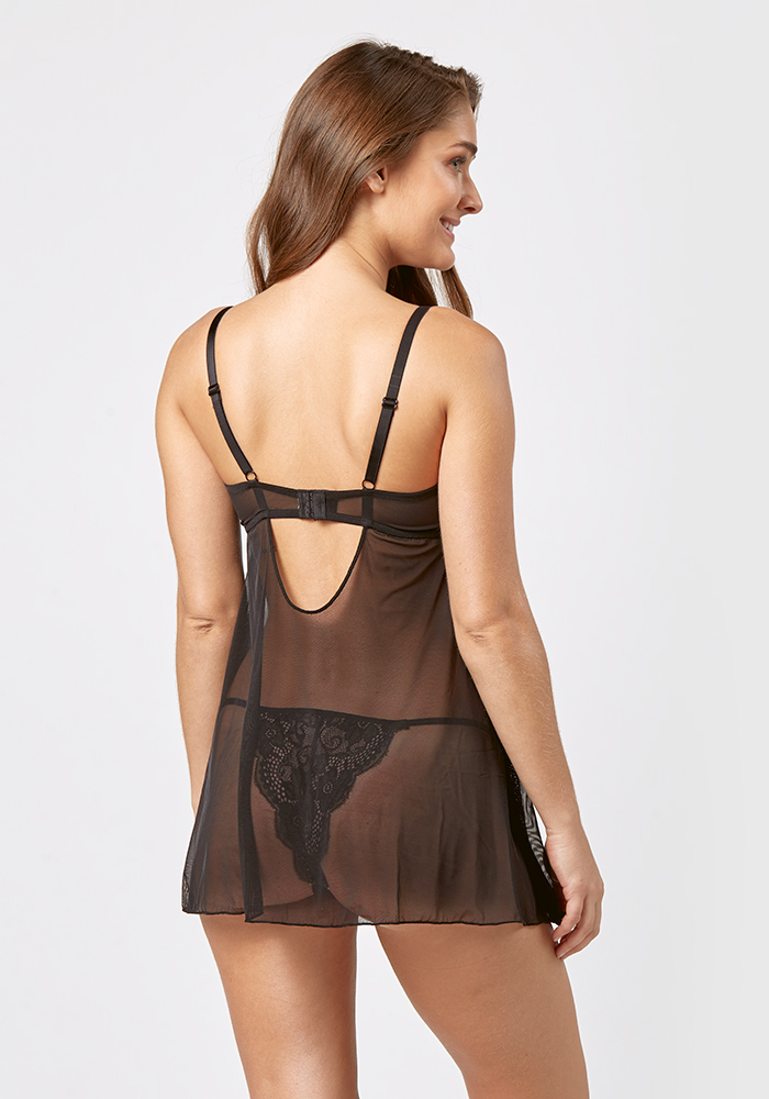 Babydoll Negligee Set With Lace Detail