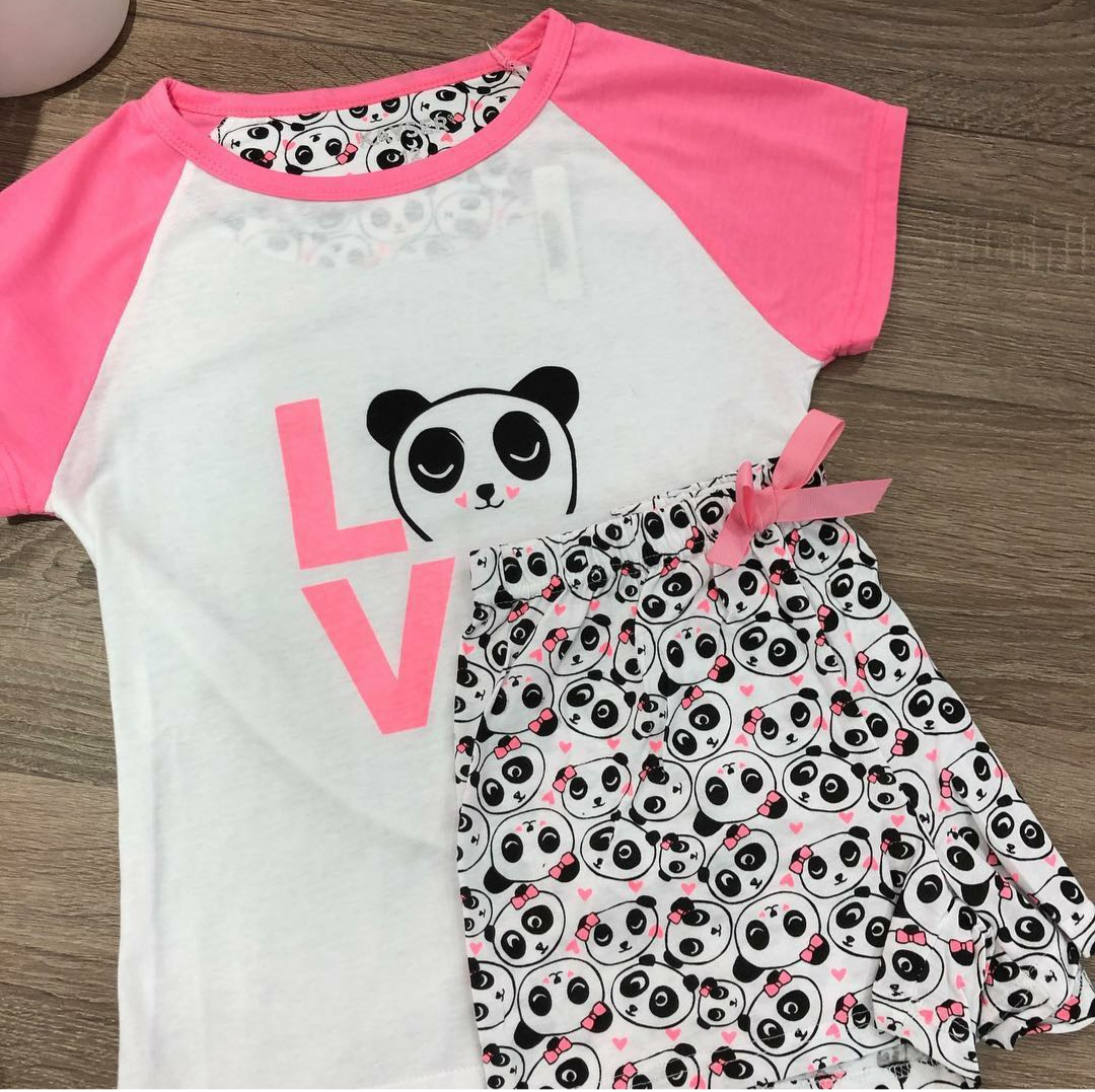 Pyjama Shorts Set With Panda Prints