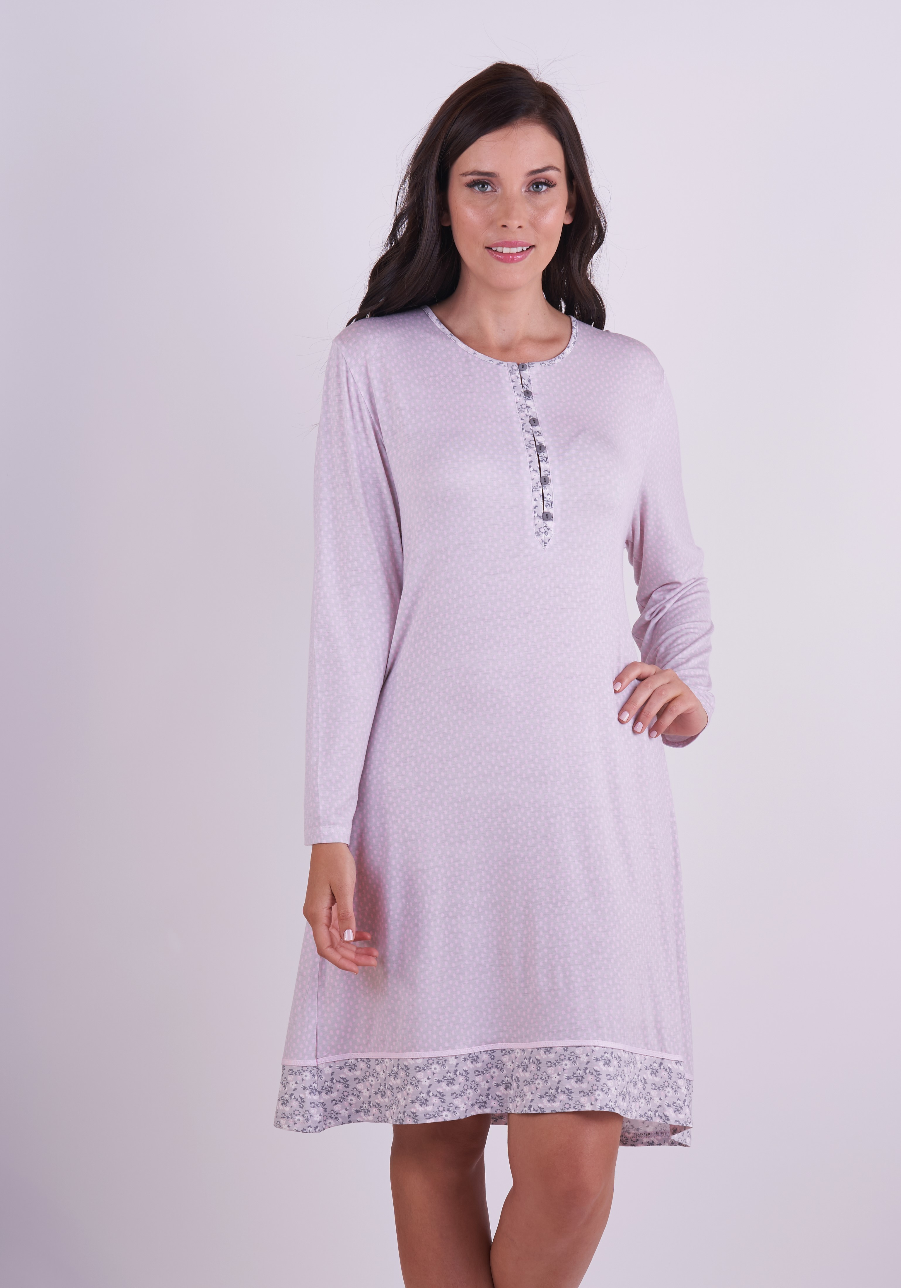 Stretch Cotton Nightgown With Long Sleeve