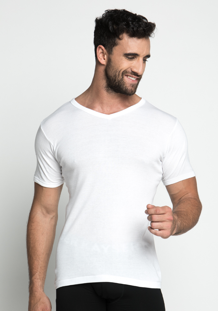 Cotton T-Shirt with V-neck