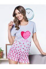 Pyjama Shorts Set With  Heart Prints