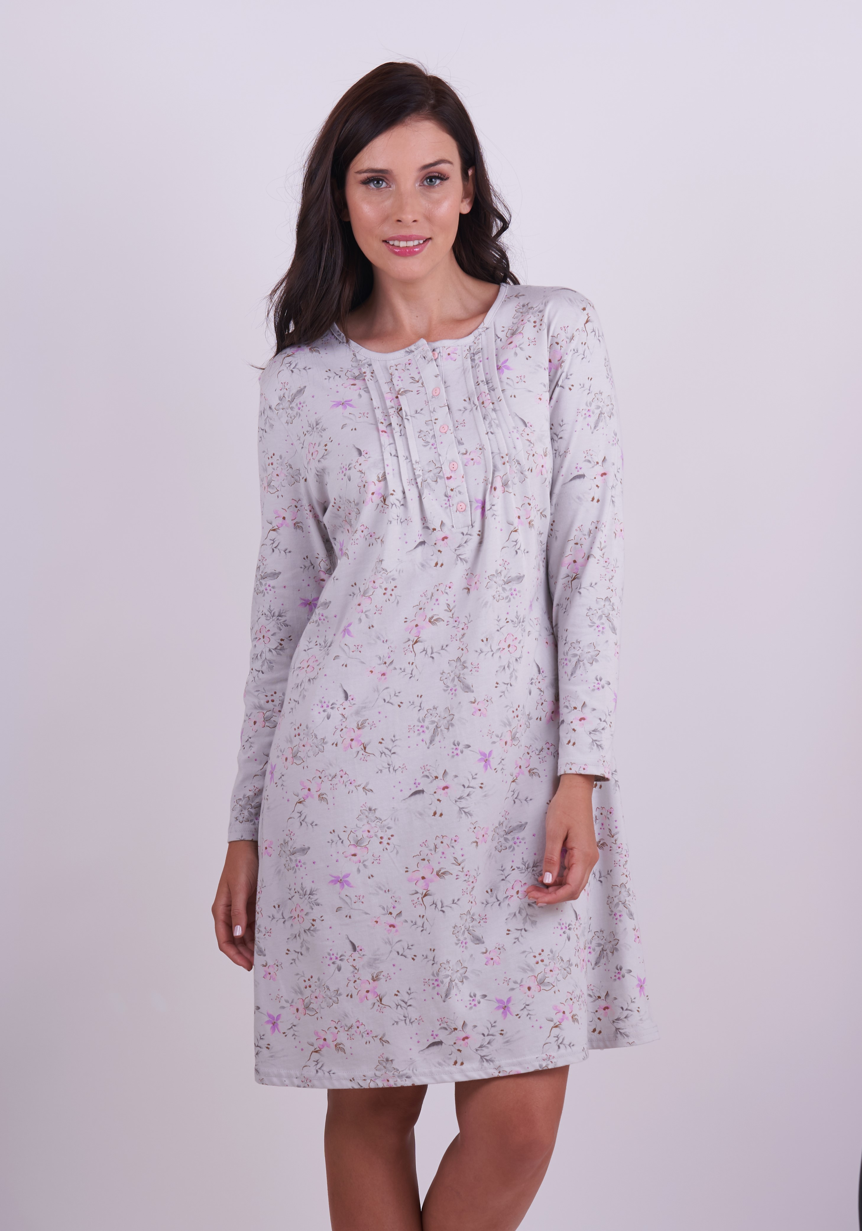 Stretch Cotton Nightgown- With Long Sleeve