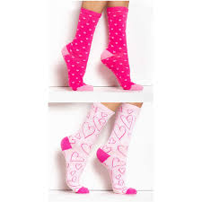 Stretch Cotton Socks In Pink With Patterns (2 Pairs)