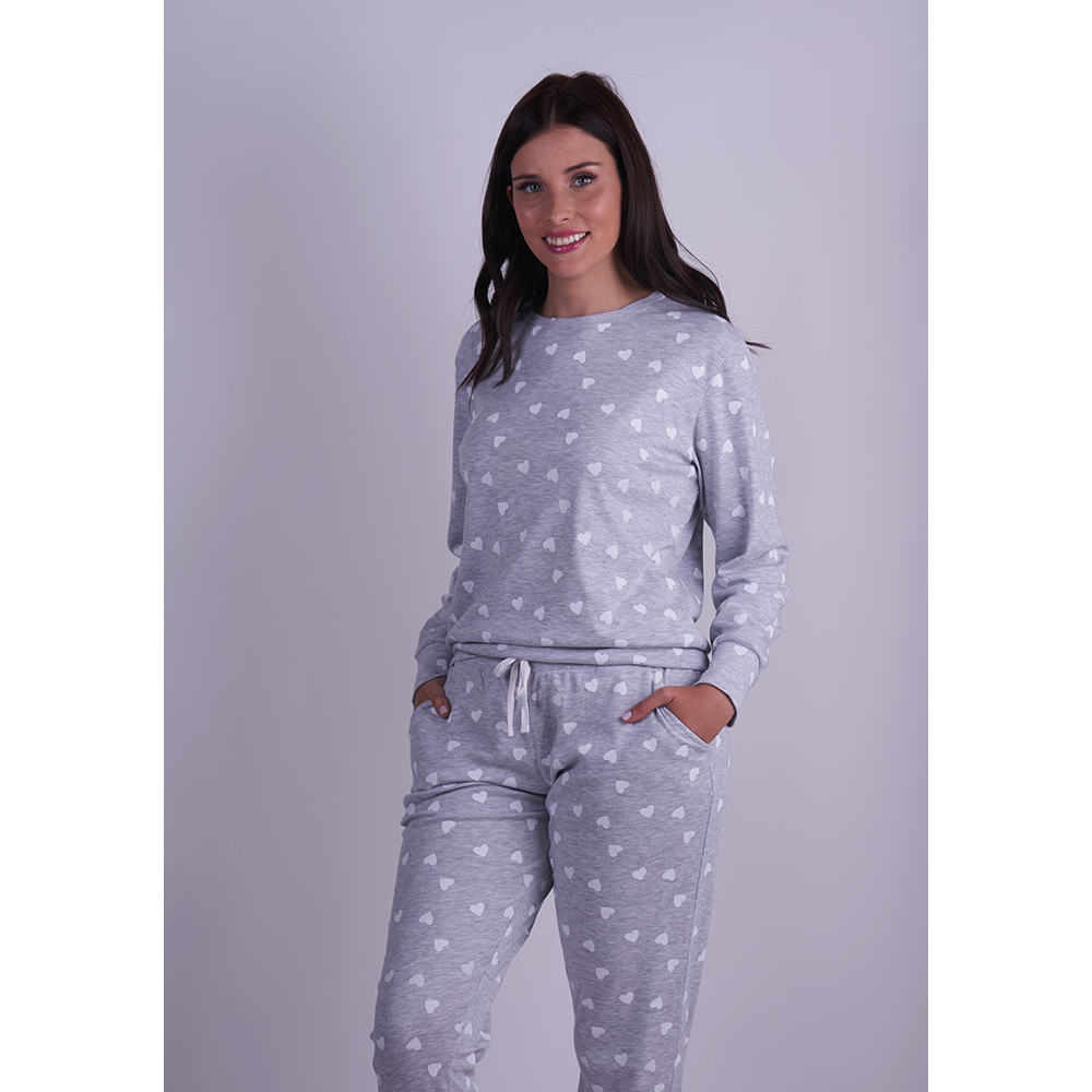Gray Pyjama Set With Heart Pattern