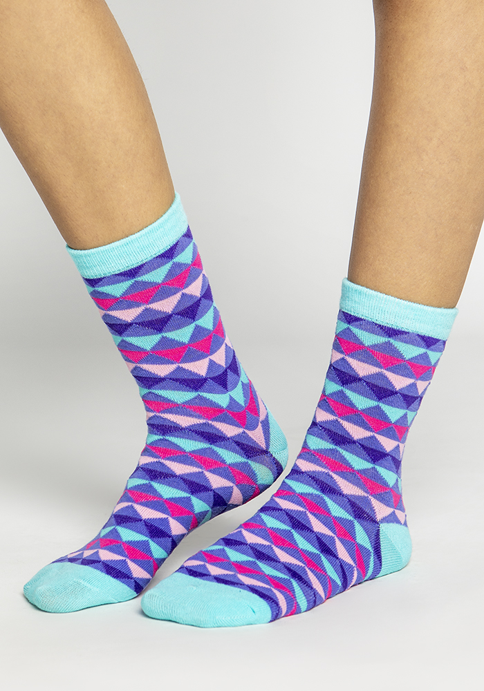 Multi-Coloured Kids Socks In Stretch Cotton (2 pairs)