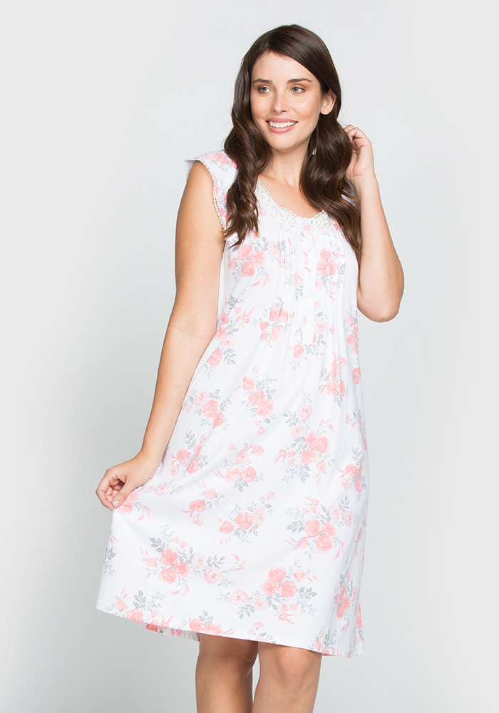 Short Sleeve Stretch Cotton Nightgown