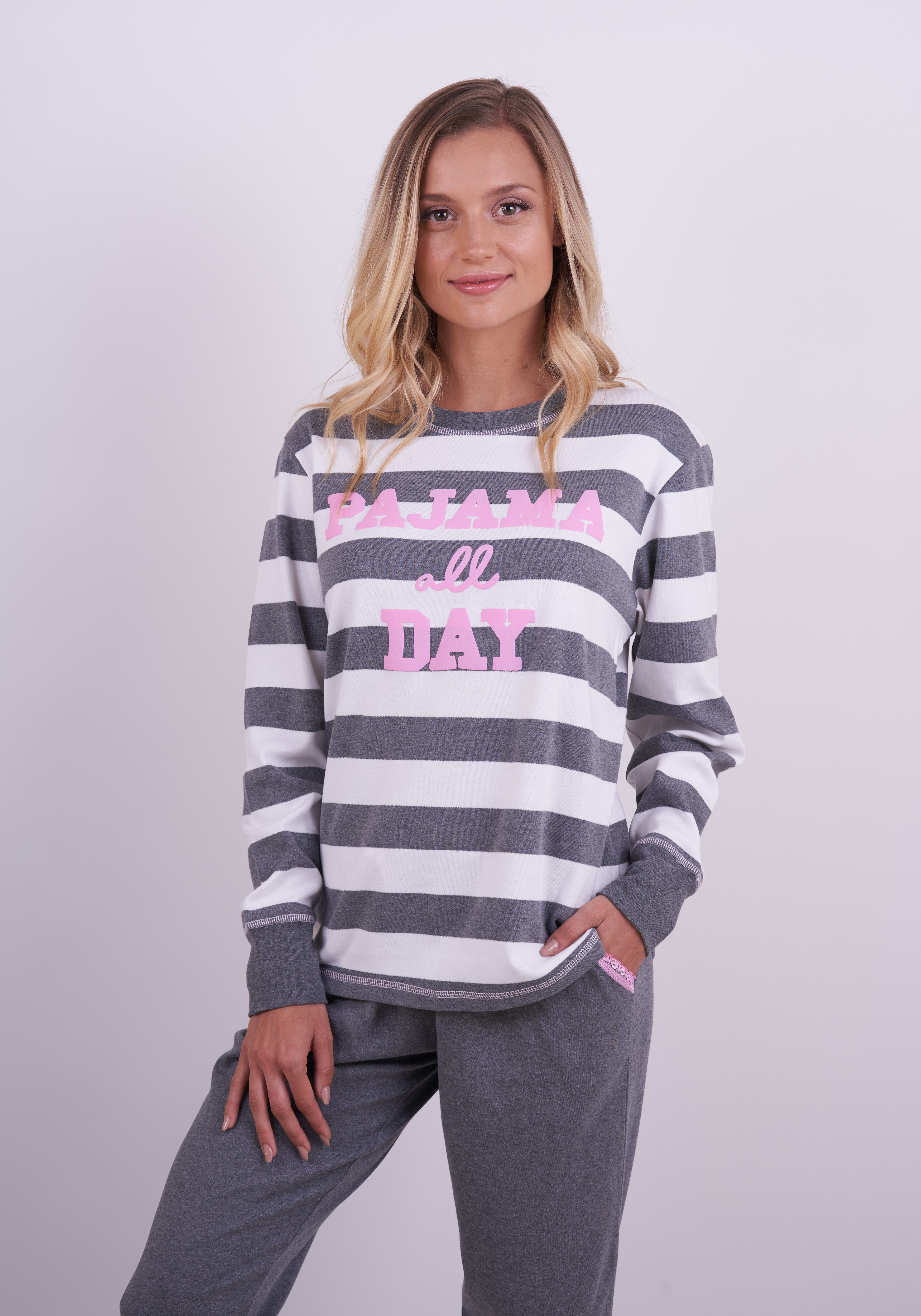Pyjama All Day Stripe Pants Set With Lace Detail