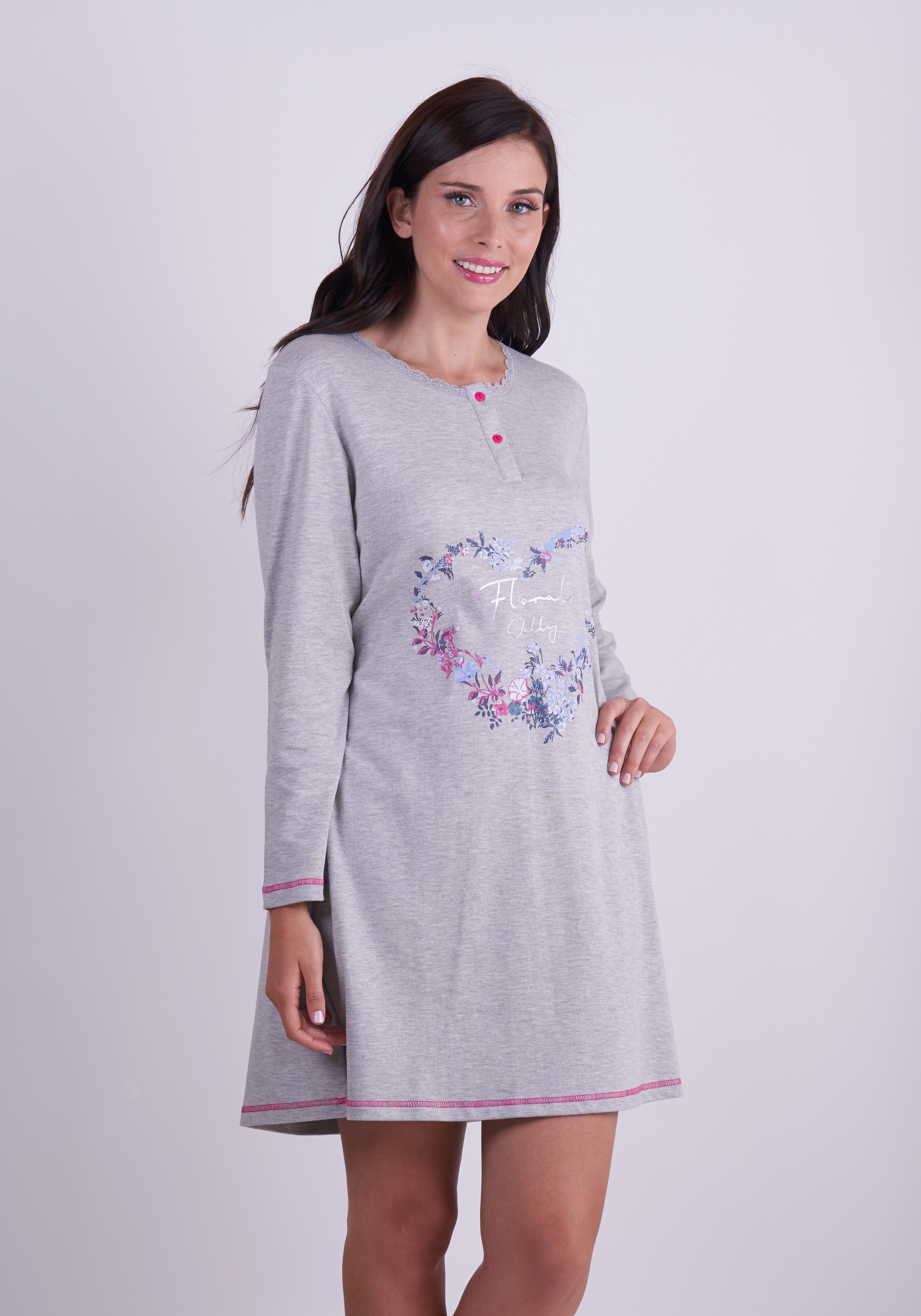 Stretch Cotton Nightgown- Long Sleeve