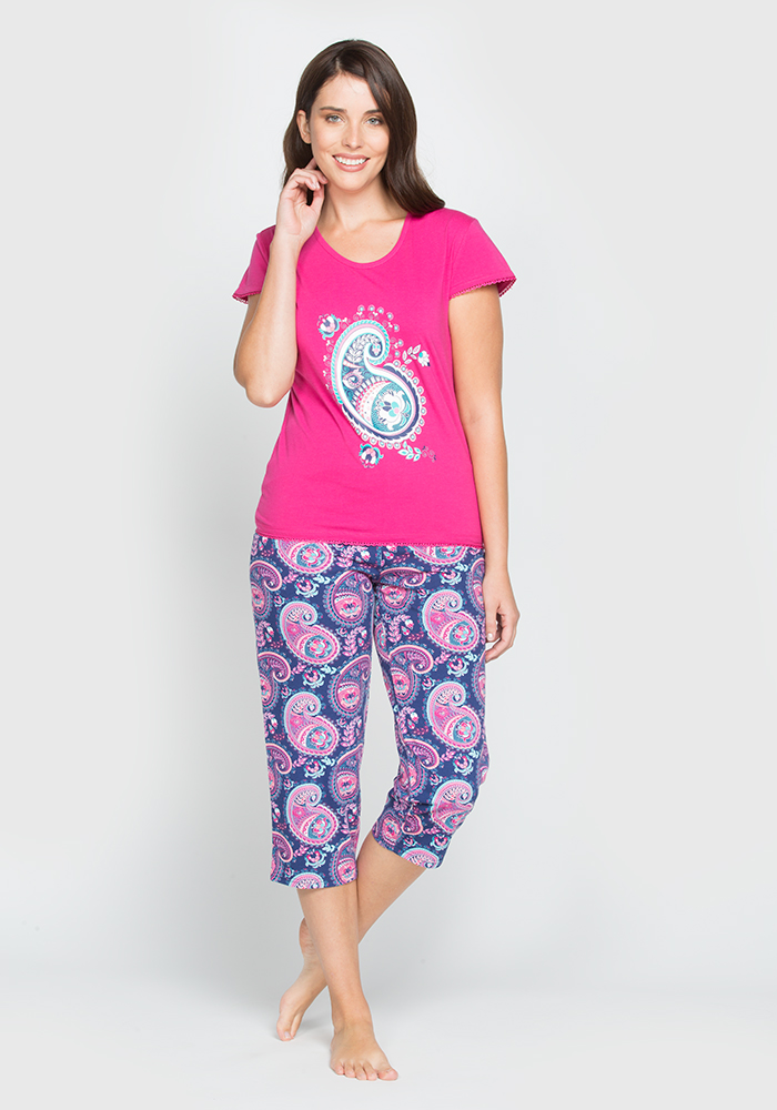 Printed Stretch Cotton Capri Pyjama Set