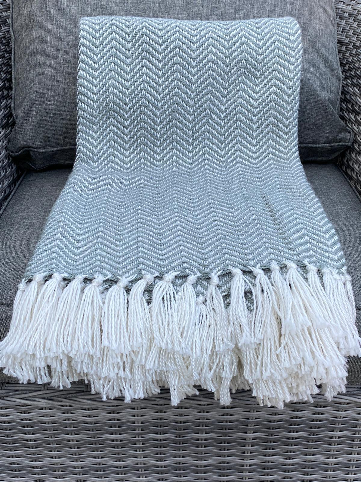 Weaver Green Herringbone Blanket - Dove Grey