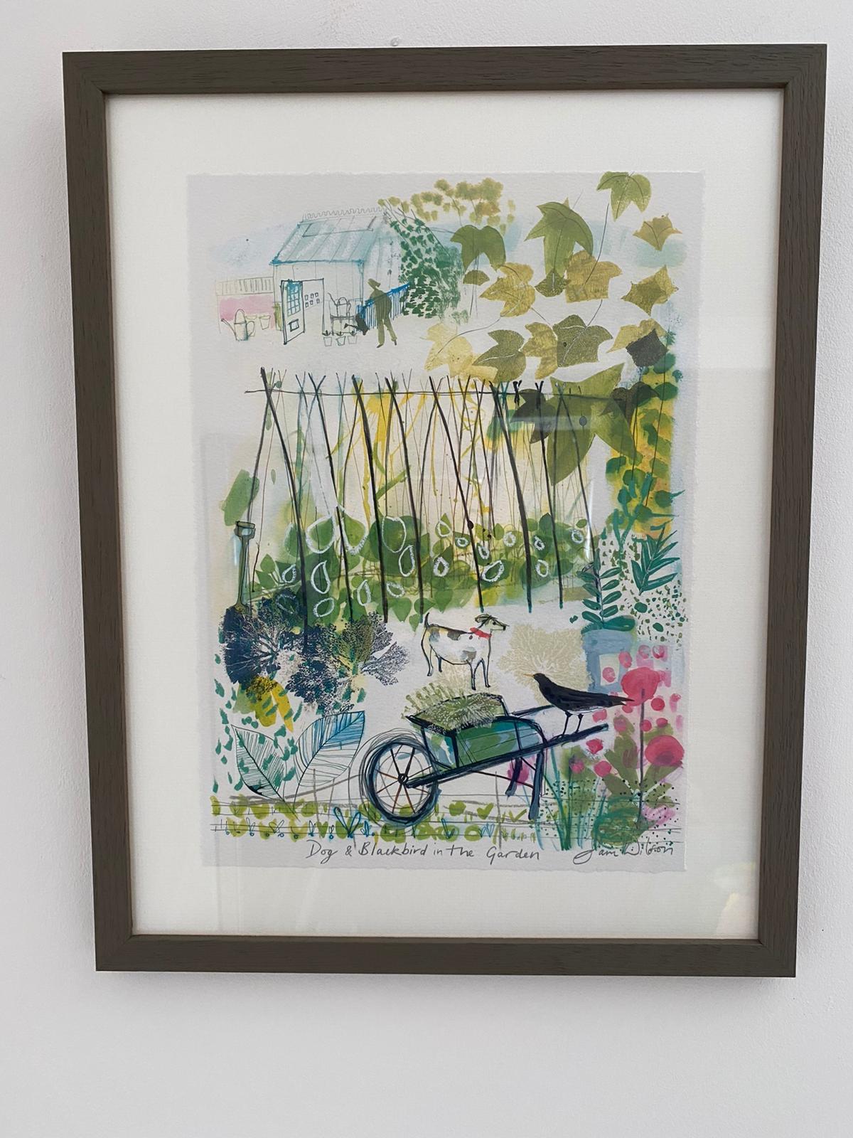 Sam Wilson Illustrations - Dog & Blackbird in the Garden