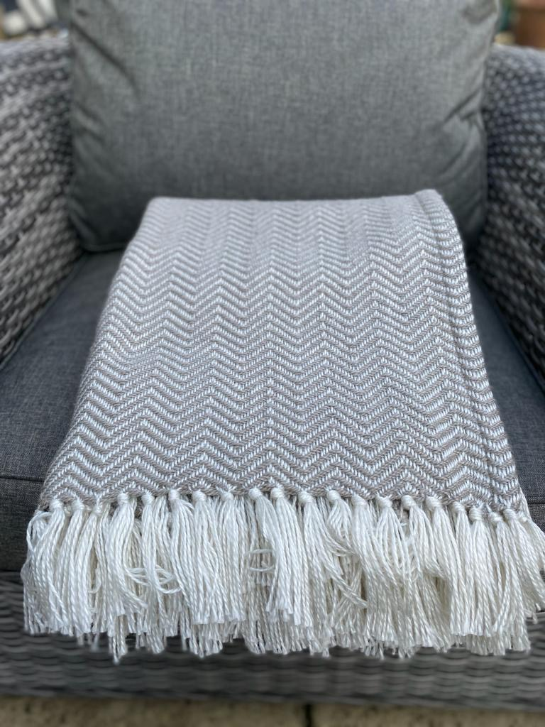 Weaver Green Herringbone Blanket - Chinchilla
