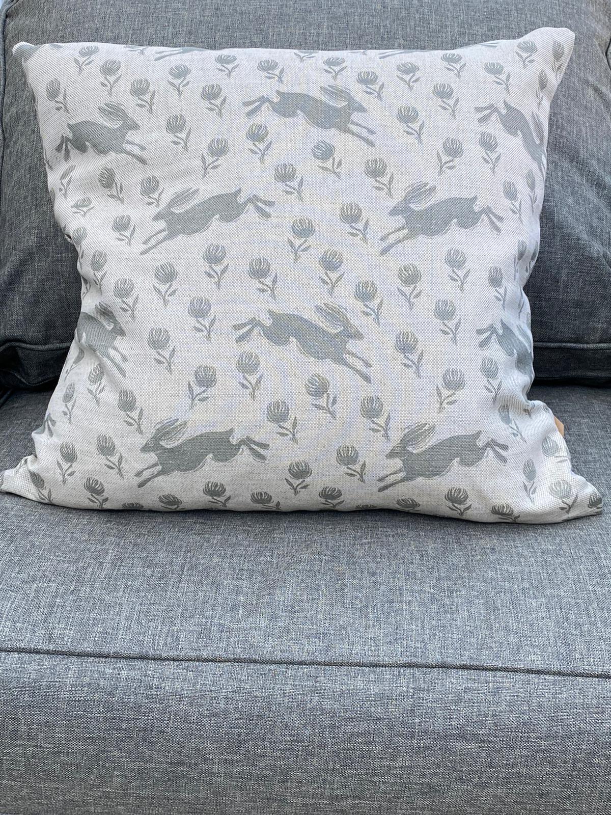 Sam Wilson Feather Cushions - Running Grey Hare