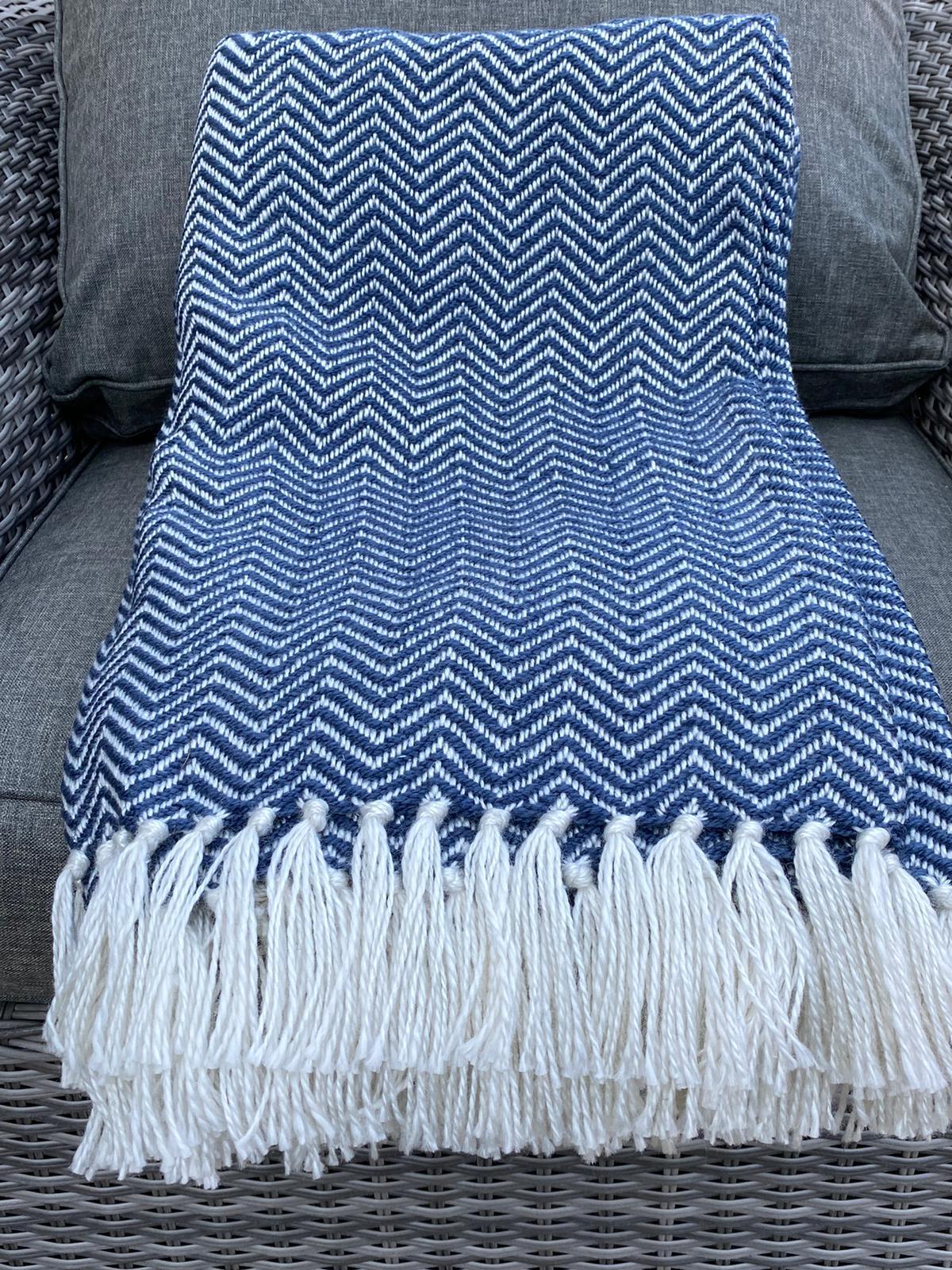 Weaver Green Herringbone Blanket - Navy