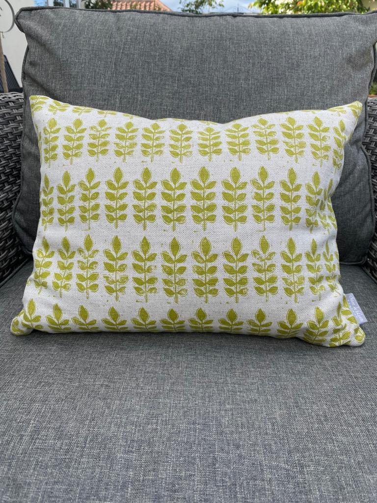 Sam Wilson Feather Cushions - Green Leaf