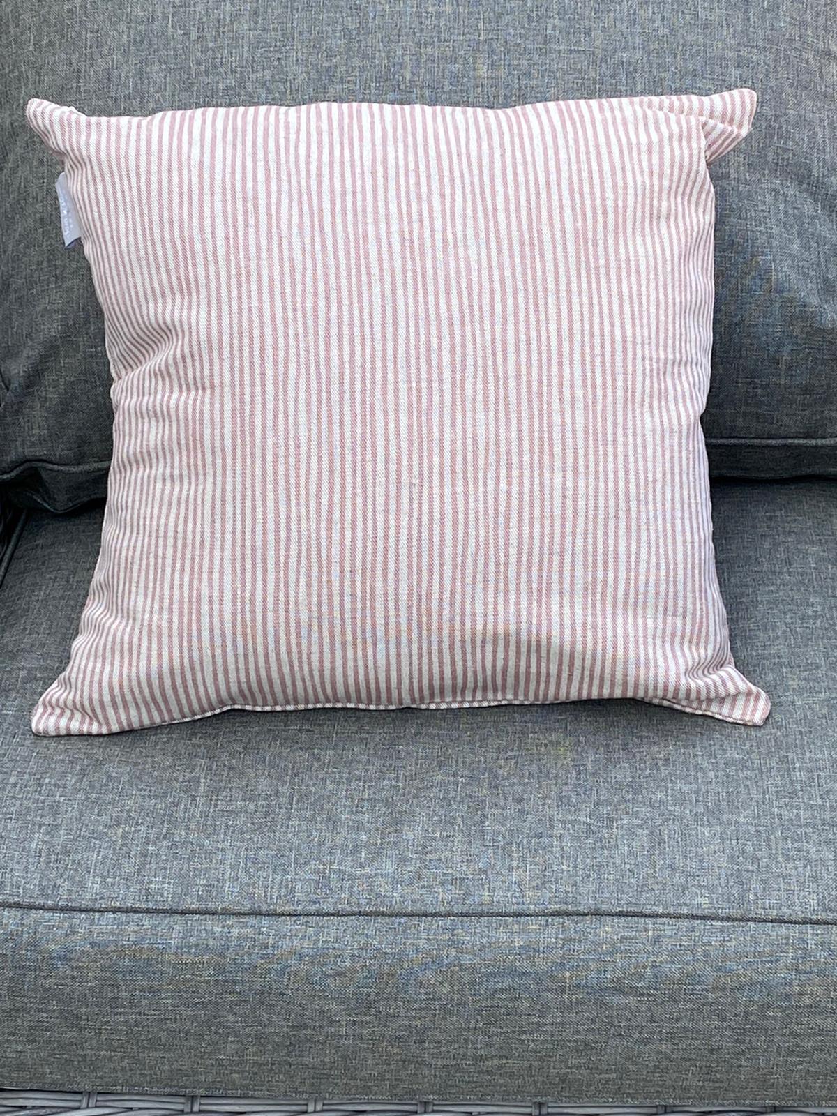 Sam Wilson Feather Cushions - Pink Stripe