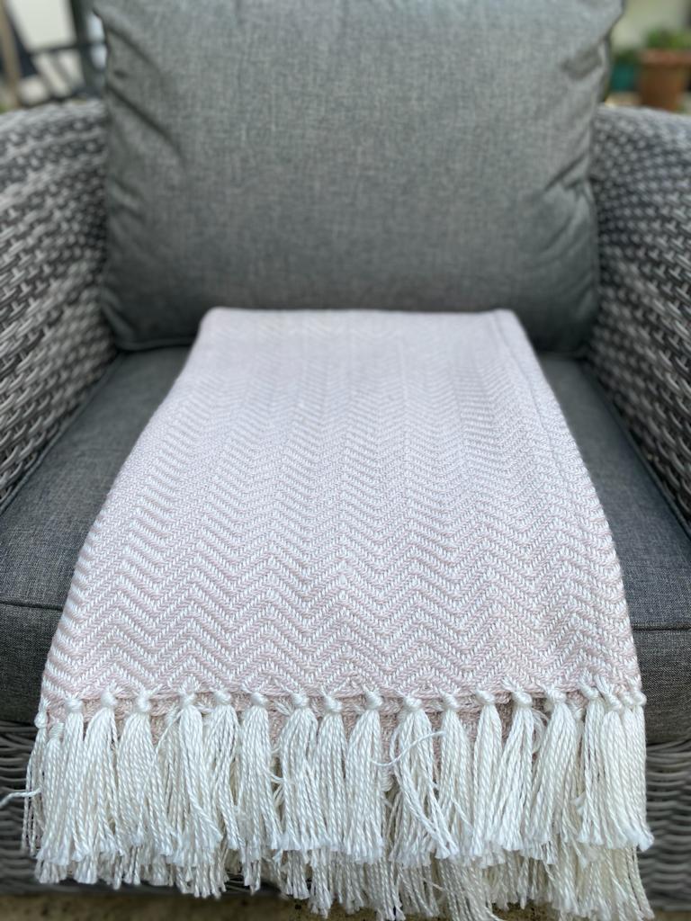 Weaver Green Herringbone Blanket - Shell