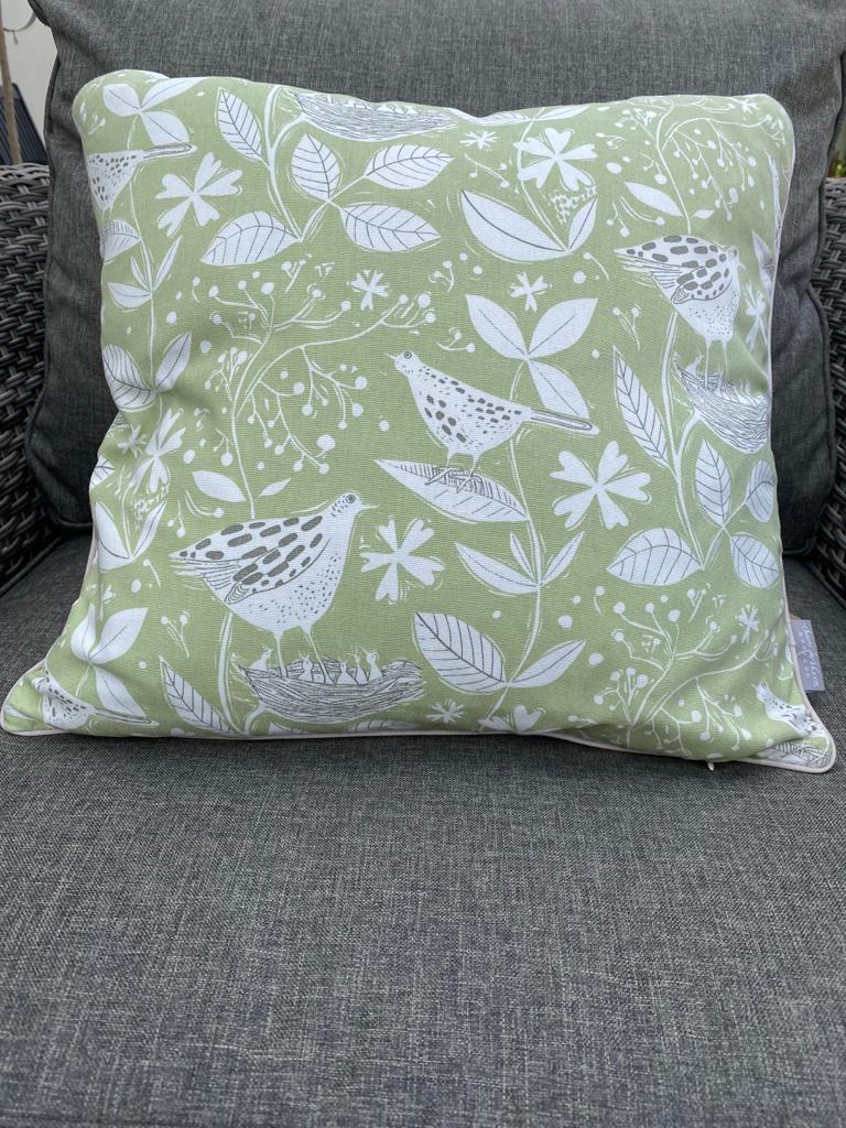 Sam Wilson Feather Cushions - Hedgerow Green