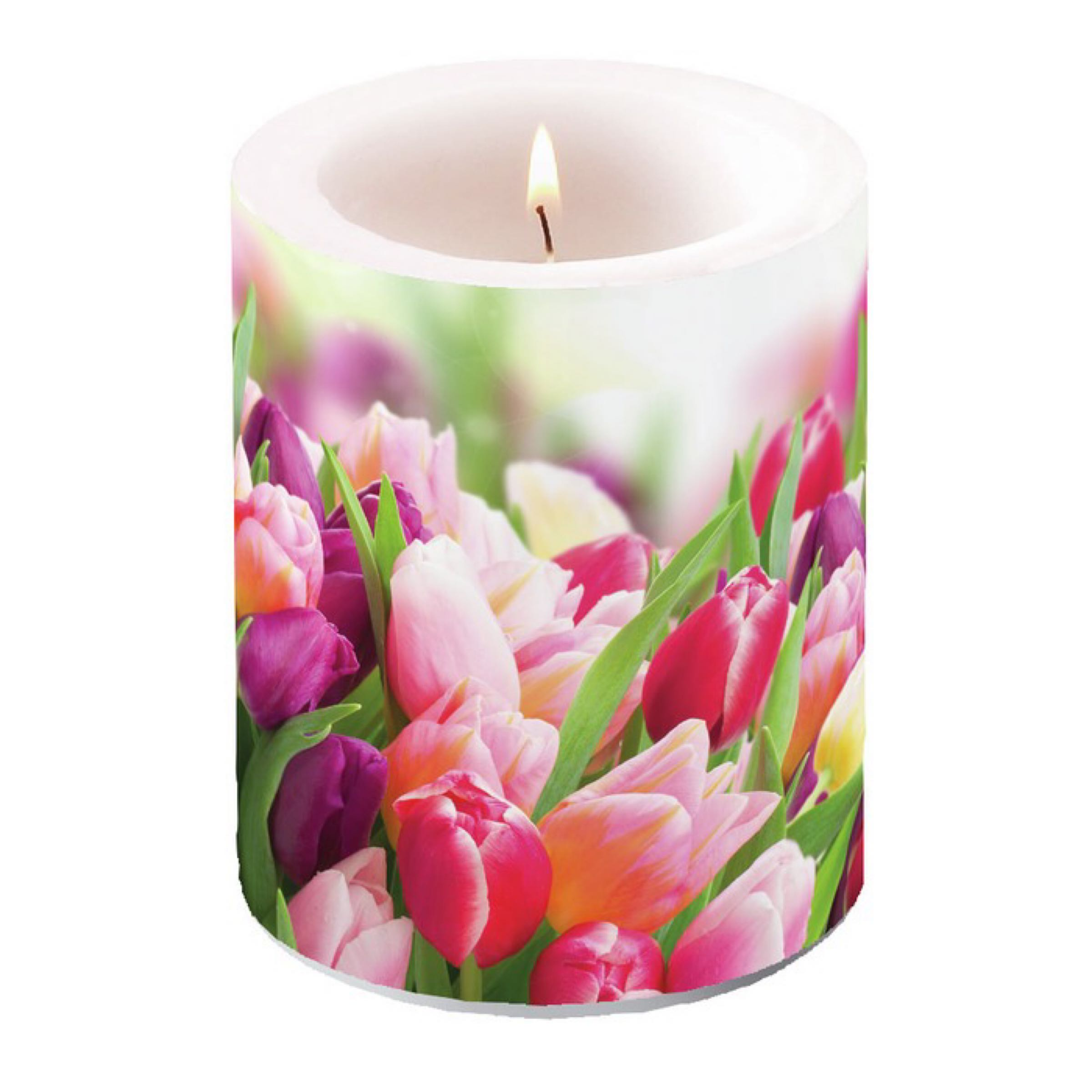 Ambiente Big Candle / Store Lys - Glorious Tulip