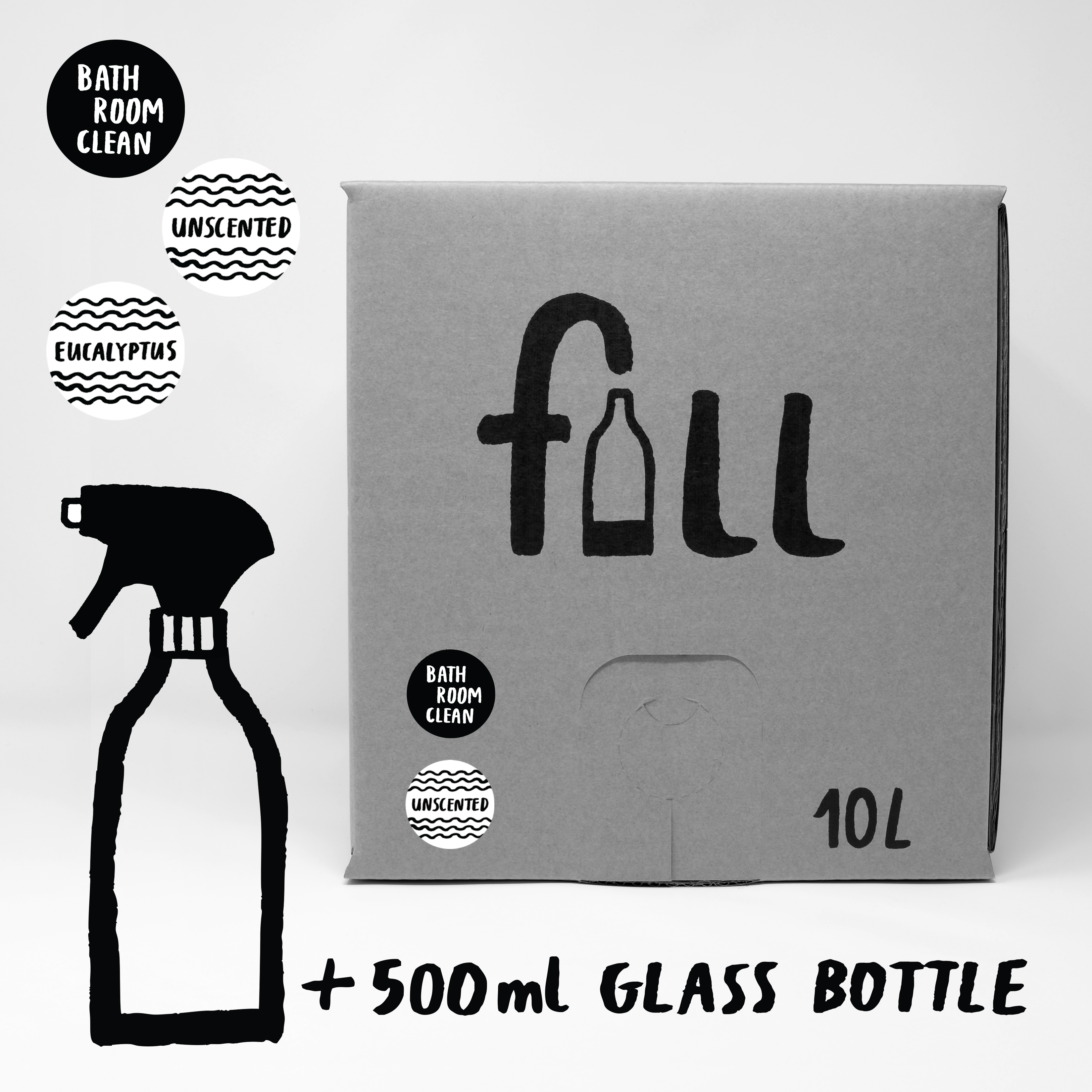 DO NOT USE Fill Refill Co Bathroom Clean Full 500ml Bottle with a Trigger Spray Top