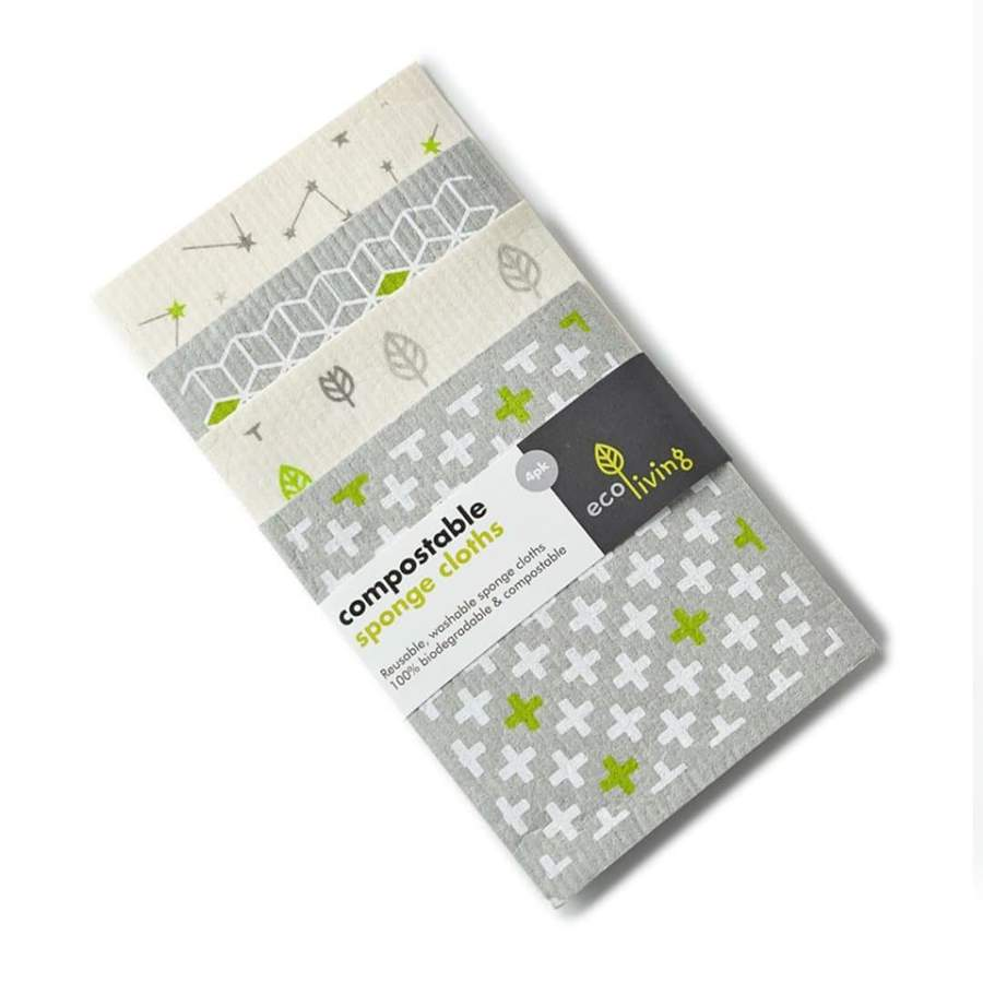 Compostable Sponge Cleaning Cloths pack of 4