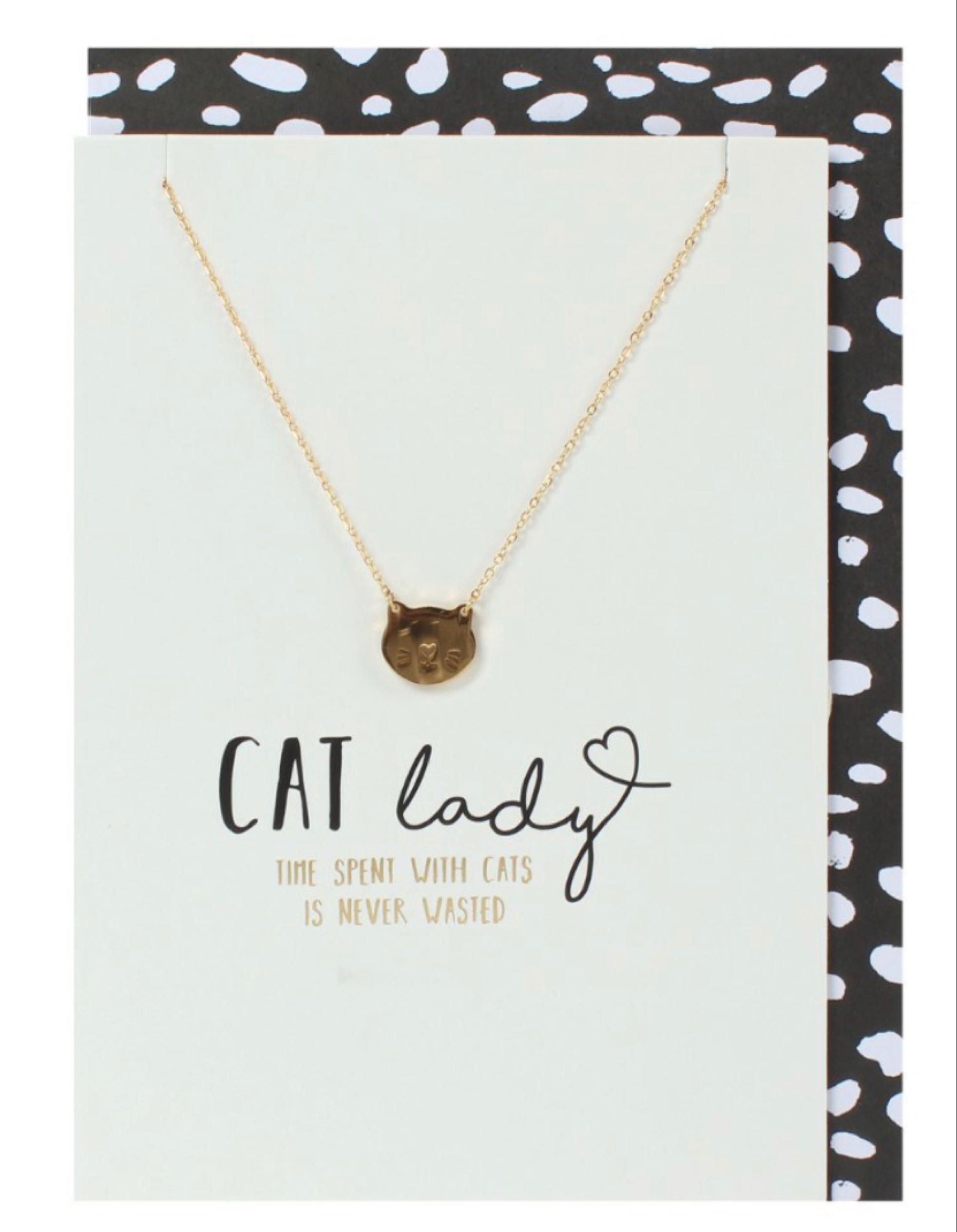 Cat Lady Greeting Card with Cat Necklace