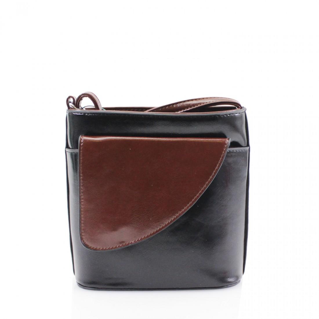 2 Tone Small Cross Body Handbag - Black