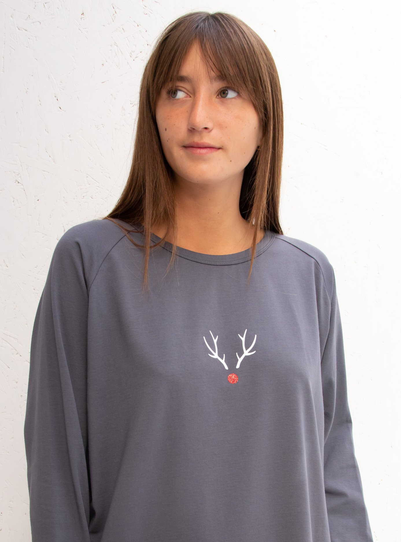Chalk Reindeer Small Casual Top - Charcoal