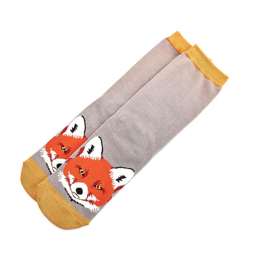 Ladies Fox Face Bamboo Socks - Grey