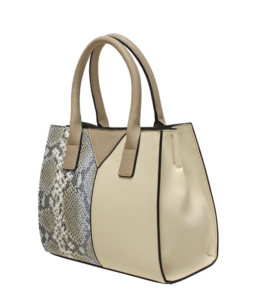 Contrast Snakeskin Panel Grab Bag - Cream