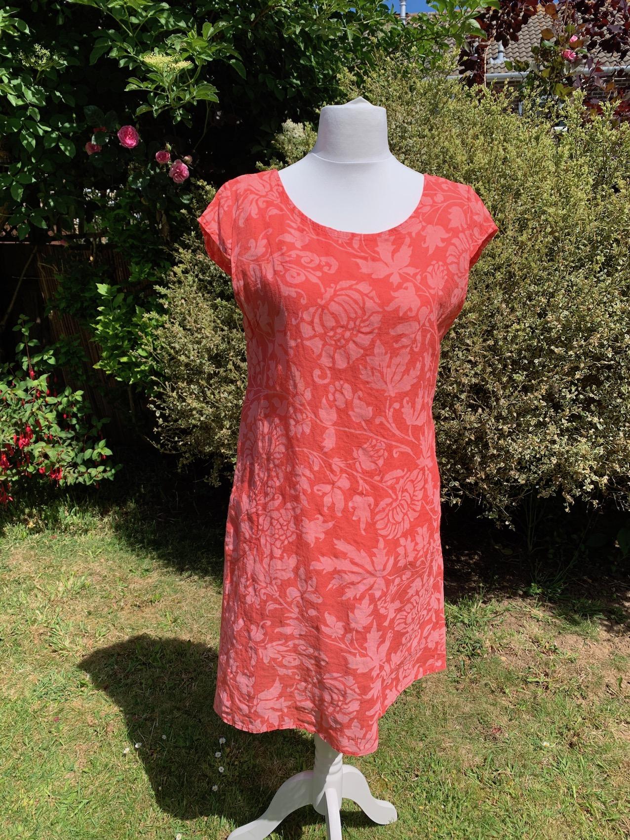 Italian Foliage Print Linen Dress - Coral