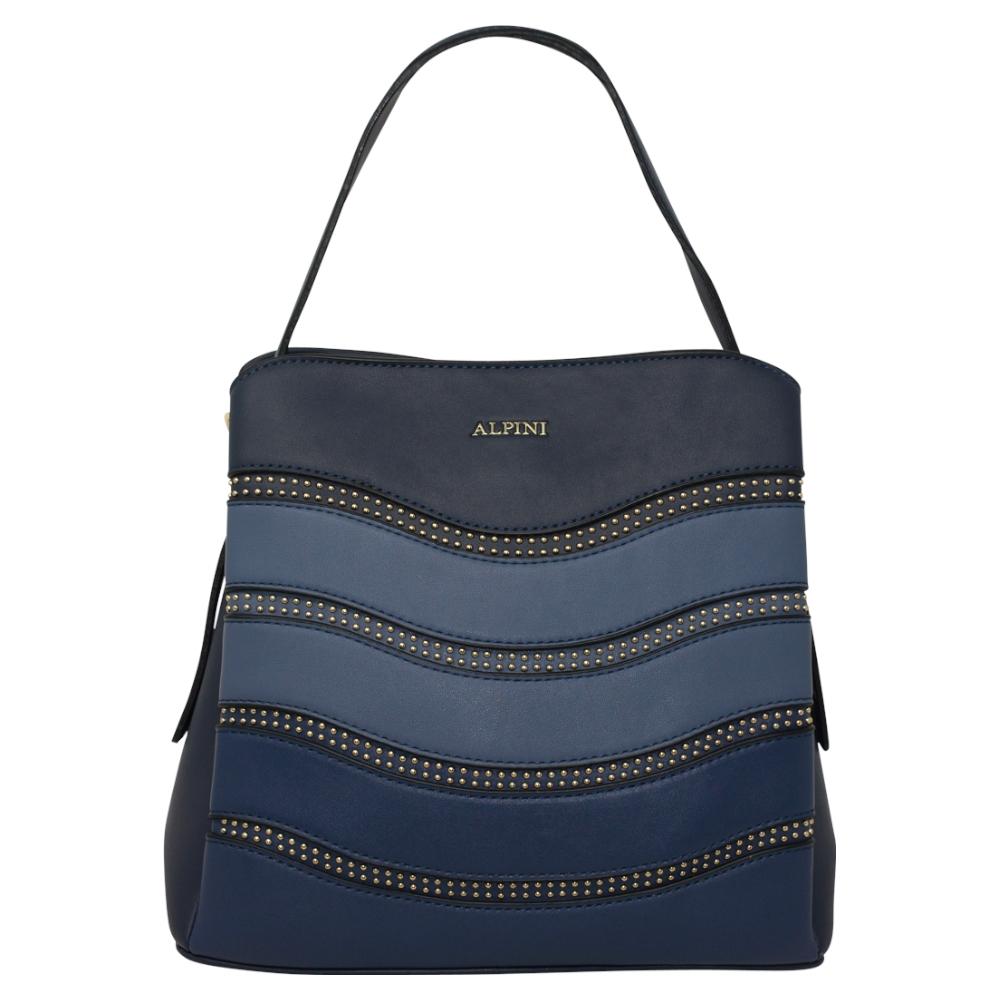Alpini Multi Tone Striped Handbag - Navy