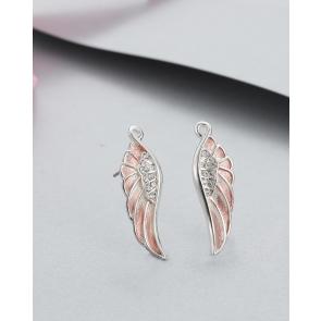 Pink Angel Wings Necklace & Earrings Set