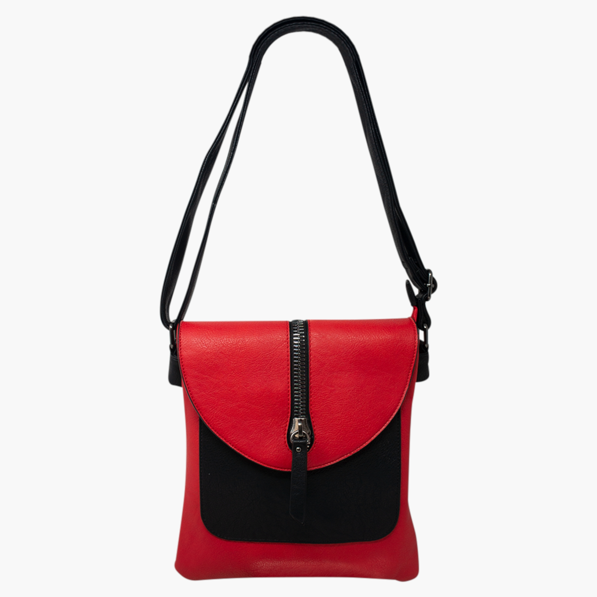 Cross Body Bag with Zip Detail -  Red/Black