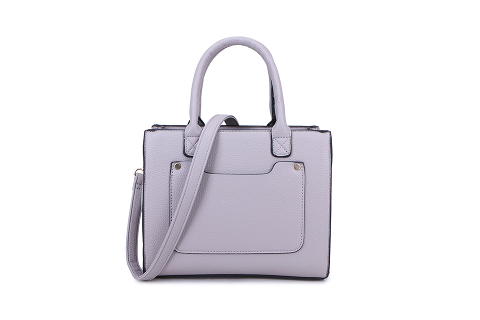 Square 2 Section Handbag - Light Grey