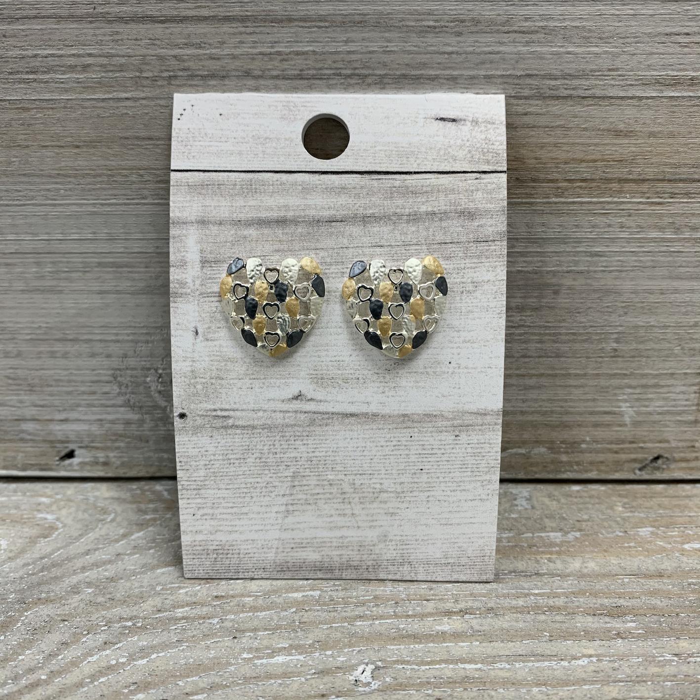 Multi Heart Stud Earrings - Yellow/Grey