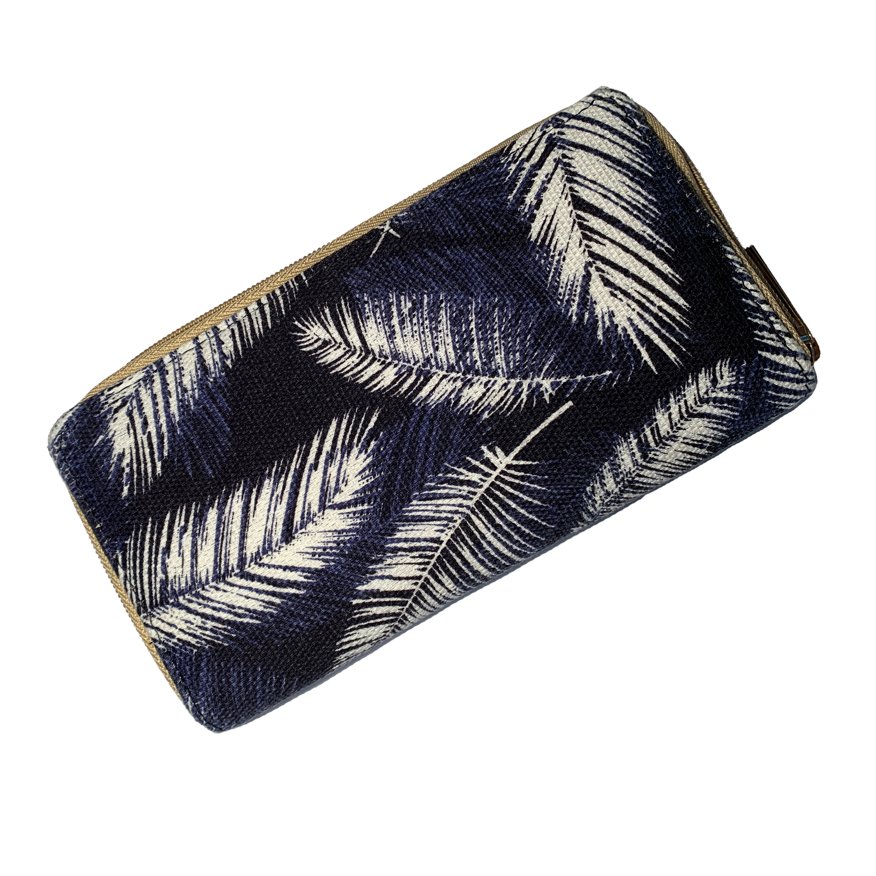 Navy Feathers Purse