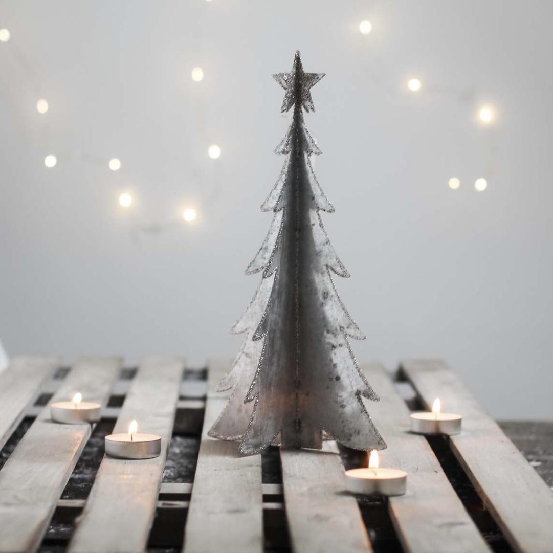 Metal 3D Christmas Tree - Silver