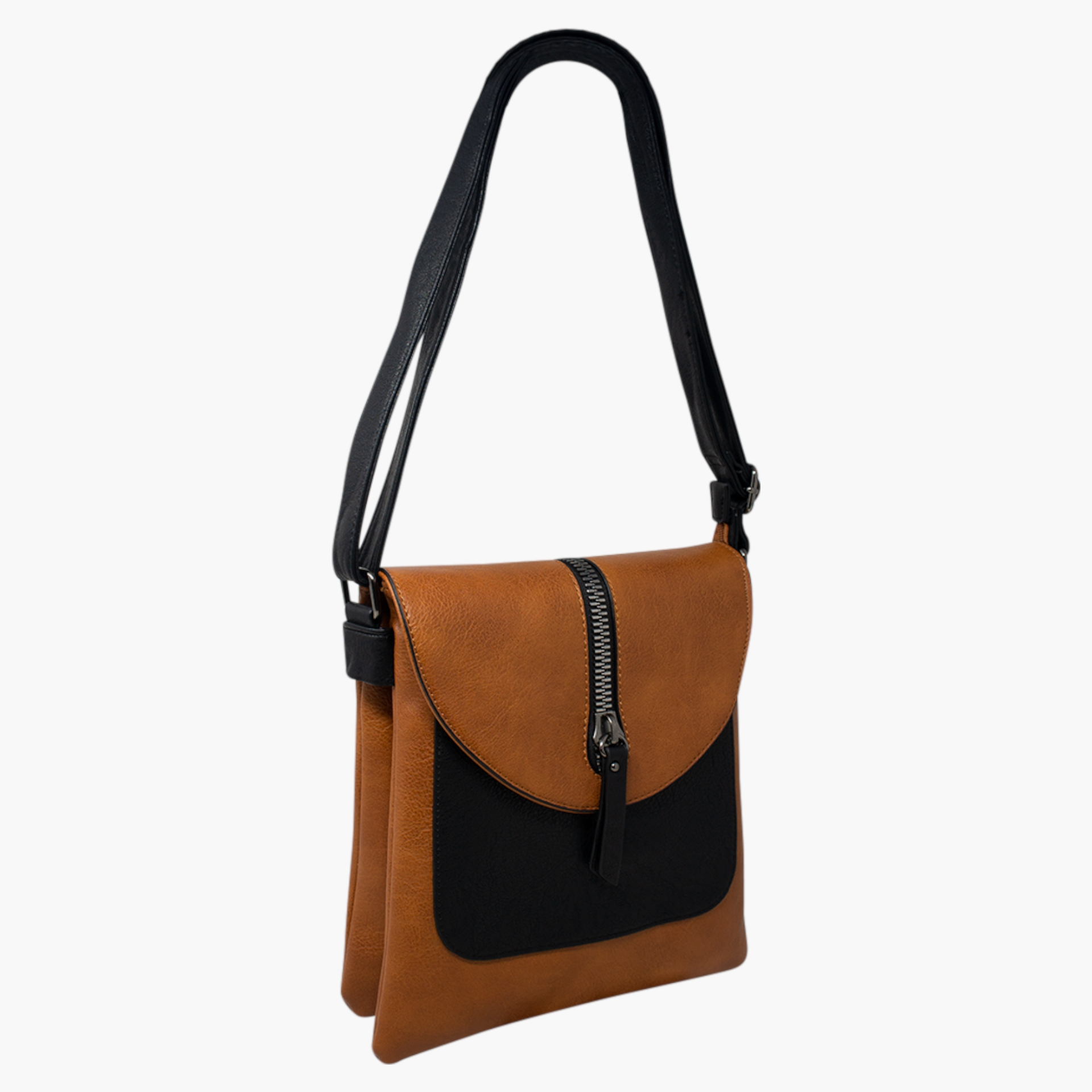 Cross Body Bag with Zip Detail - Tan/Black