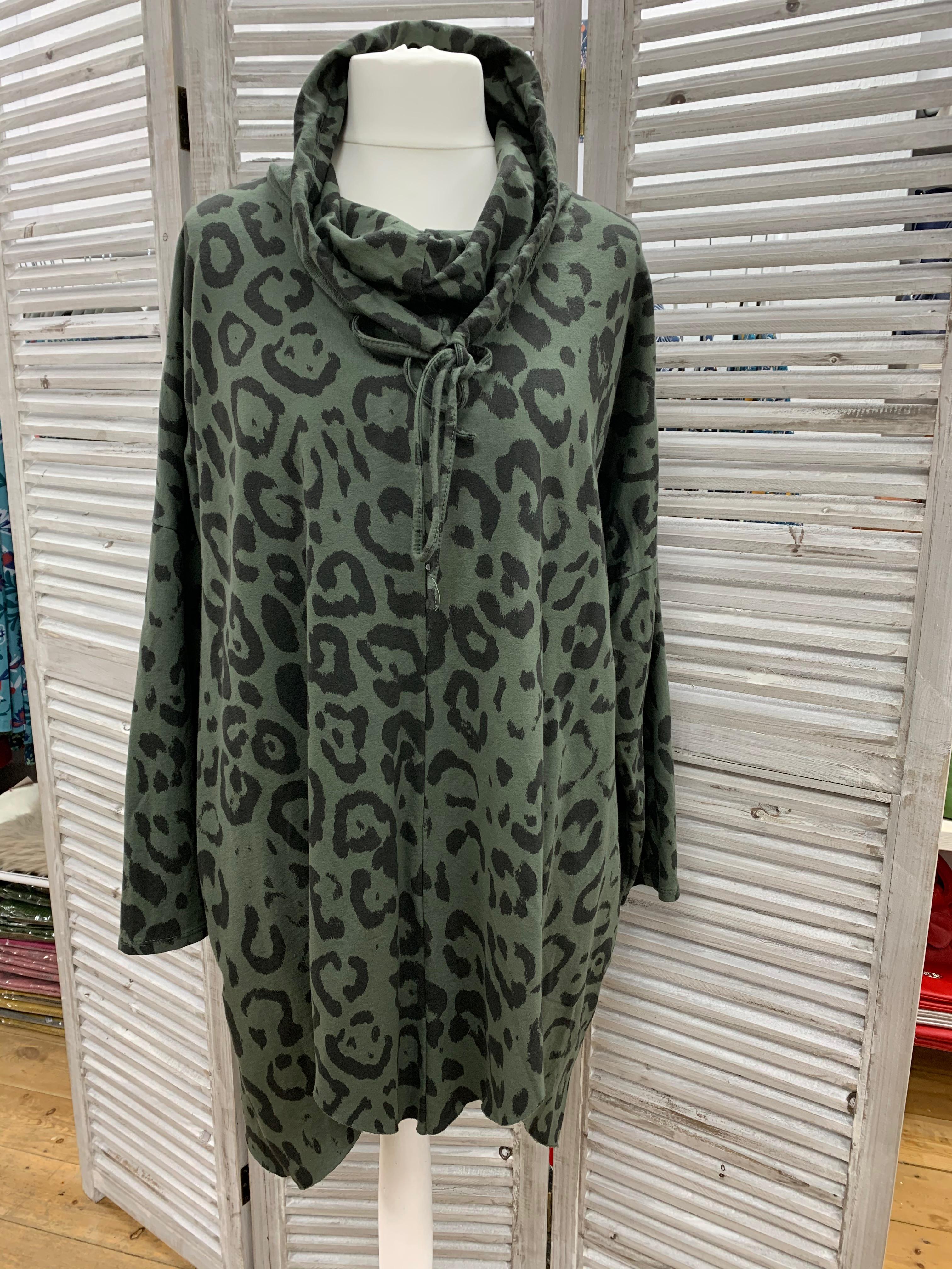 Oversize Leopard Print Cowl Neck Top - Various Colours