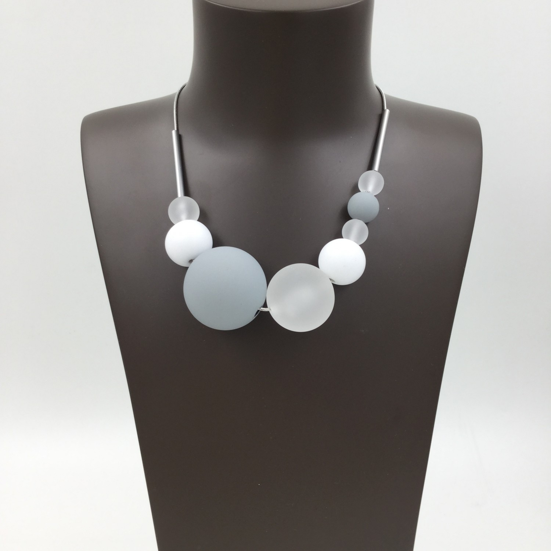 Resin Ball Necklace Grey