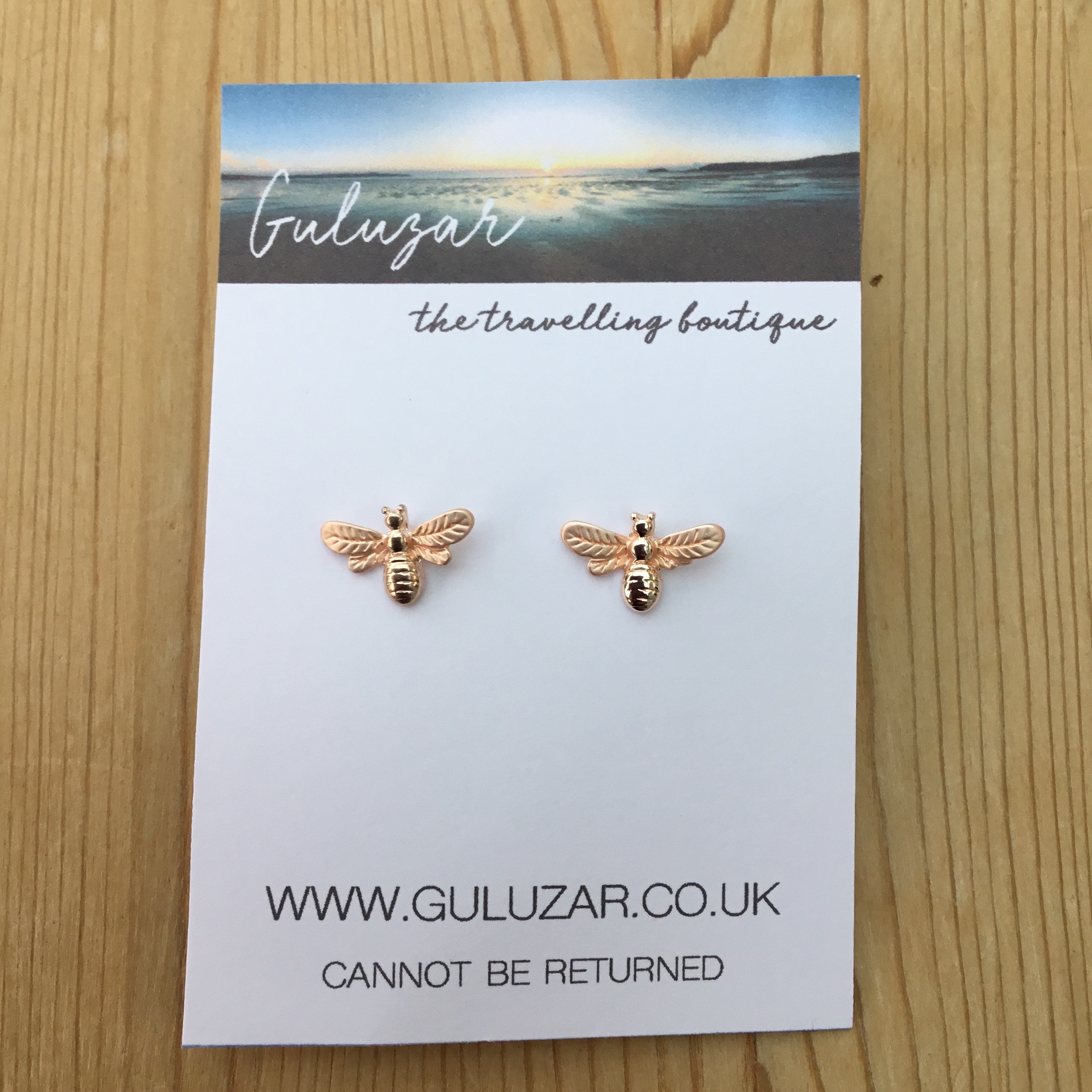 Honey Bee Stud Earrings - Rose Gold