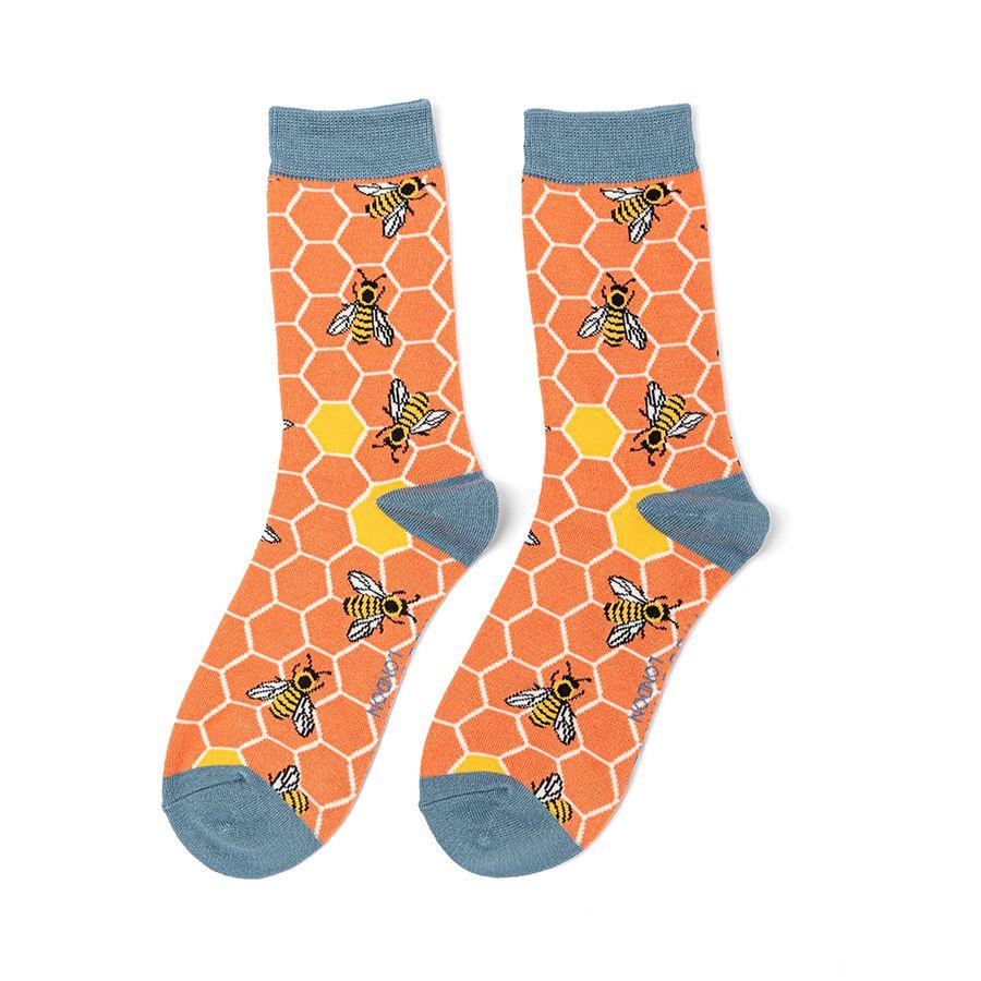 Ladies Bee Hive Bamboo Socks - Orange